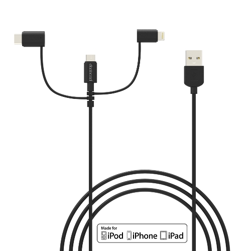 Buy dodocool MFi Certified 3.3ft/1m 3-in-1 TPE Micro-USB USB 2.0 Cable Lightning USB-C Adapter Charge Sync iPhone 7/7 Plus/6s Plus/LG G5/HTC 10/Lumia 950XL/Nexus 5X/Samsung S6 Black