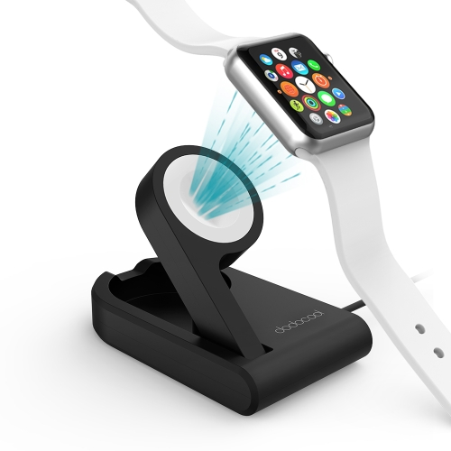 dodocool MFi Certified Foldable Magnetic Charging Dock Holder Stand 38mm/42mm Apple Watch 3ft Integrated USB Cable Adjustable Viewing Angle Compatible Nightstand Mode Scratch Resistant Black