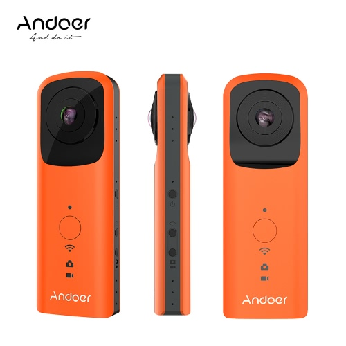 Buy Andoer A360II Handheld 360u00b0 VR Video Camera 1920 * 960 30fps Support WiFi Dual 210u00b0 HD Wide Angle FishEye Lens Panoramic Cam