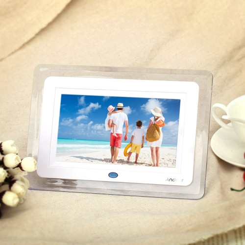 7'' HD TFT-LCD Digital Photo Picture Frame Alarm Clock MP3 MP4 Movie Player with Light Remote Desktop