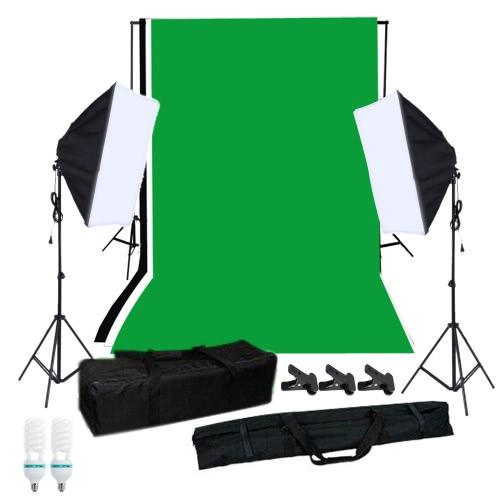 Buy Photography Softbox Lighting Kit Studio Background Stand Black White Green Backdrop 125W Light Bulbs Single-capped Mini Clips