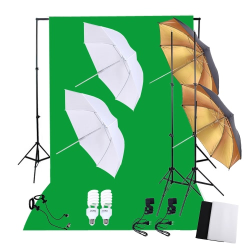 Buy Professional Photography Photo Lighting Kit Set 45W 5500K Daylight Studio Bulbs Light Stands Black White Green Nonwoven Fabric Backdrop Soft Reflector Umbrellas