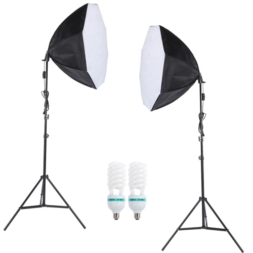 Buy Professional Photography Photo Lighting Kit Set 5500K 135W Daylight Studio Bulb Light Stand Octagon Softbox