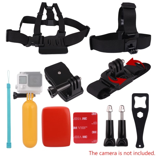 Buy Andoer 8in1 Chest Strap Head Floating Grip Floaty Buoy 360u00b0Rotating Wrist 360u00b0 Rotary Backpack Hat Clip Plastic Wrench Tool Long Screw GoPro Hero 4/3+/3/2/1 SJCAM SJ4000 SJ5000 Action Cameras