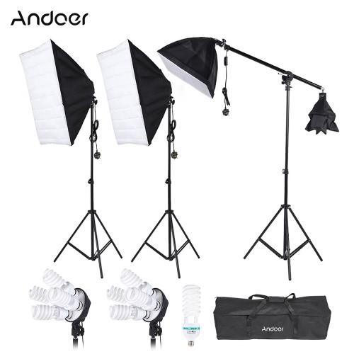 Andoer Photography Studio Portrait Product Light Lighting Tent Kit Photo Video Equipment(3 * Softbox+2 4in1 Socket+Cantilever Stick+8 45W Bulb+1 135W Bulb+3 Stand+1 Carrying Bag) UK Plug 220V