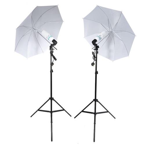 Buy Andoer Photography Studio Portrait Product Light Lighting Tent Kit 2 * 135W Bulb+2 Bulb Holder+2 Reflective Shooting-through Umbrella+3 Backdrops+1* Backdrop stand+2 Tripod Stands+1* Carrying Bag UK Plug 220V