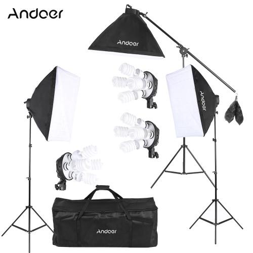 Buy Andoer Studio Photo Video Lighting Kit 12 * 45W Bulb / 3 4in1 Socket Softbox Light Stand 1 Cantilever Stick Carrying Bag UK Plug