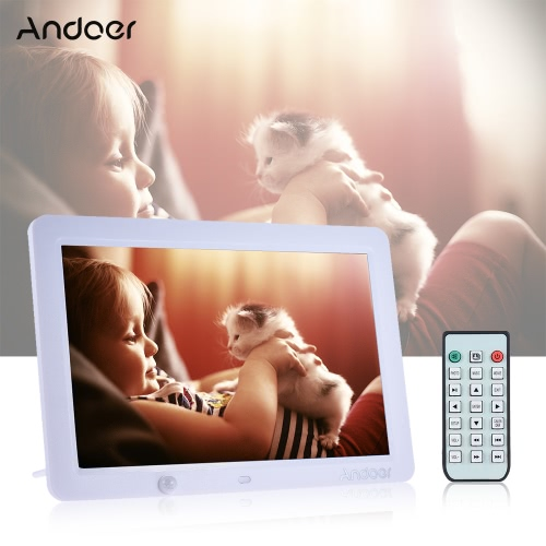 Buy Andoer 12 Inch LED Digital Photo Frame 1280 * 800 Human Motion Induction Detection Remote Control Support MP3/MP4/Calendar/Alarm Clock Function Christmas Gift