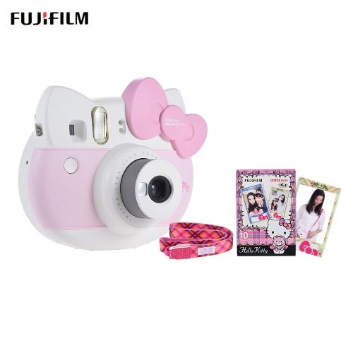 Fujifilm Instax Mini Hello Kitty KT Instant Camera Auto Metering Built-in Flash Selfie Mirror w/ 10 sheets Film/ Close-up Lens/ Camera Strap/ Sticker 40th Anniversary Edition (Film, strap sticker randiom style delivery.)