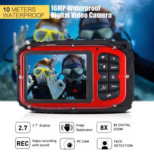 "16MP 2.7"" LCD Waterproof Digital Video Camera Mini Camcorder DV Underwater Max 10M Diving 8X Digital Zooming Face Detection от Tomtop.com INT"