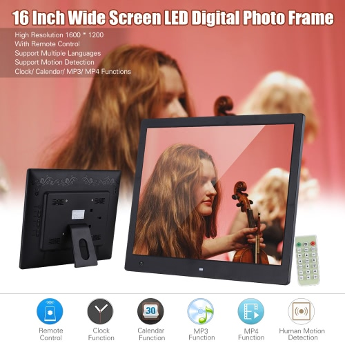 Buy 16 Inch Wide Screen 1600 * 1200 High Resolution LED Digital Photo Frame Album Remote Control Motion Detection Sensor Support Audio Video Playing Clock Alarm Calendar Functions Multiple Languages