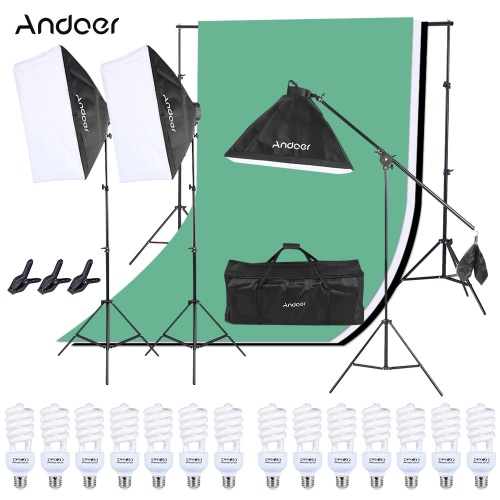 Buy Andoer Photo Studio Lighting Kit 50*70cm Softbox 145W Bulb 4in1 Socket 2m Light Stand 1pc Cantilever Stick 1.6m*3m Black & White Green Backdrop 2m*3m Spring Clamp 1 Carrying Bag