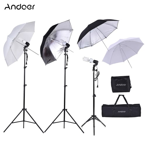 Andoer Photo Studio Kit 2 * 2m Light Stand + 3 * 45W Bulb + 2 * 83cm Translucent White Soft Umbrella +2 * 83cm Black&Silver Umbrella + 1 * 80cm Light Stand + 3 * Bulb Swivel Socket with 1 Bulb Storage Bag 1 Carrying Bag от Tomtop.com INT