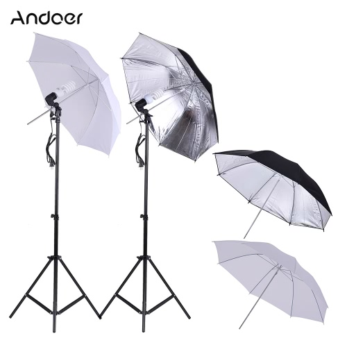 Andoer Photo Studio Continuous Umbralle Lighting Kit with 2 * 2m Light Stand + 2 * 45W 5500K Photo Lamp Bulb + 2 * 83cm Translucent White Soft Umbrella +2 * 83cm Black&Silver Umbrella + 2 * Swivel Socket от Tomtop.com INT