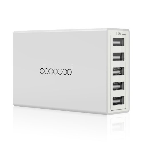 Buy dodocool 40W 8A 5-Port USB Charging Station Travel Wall Charger Power Adapter 1.5m Detachable AC Cord iPhone / iPad Android Smartphone Tablet Portable Device US Plug White