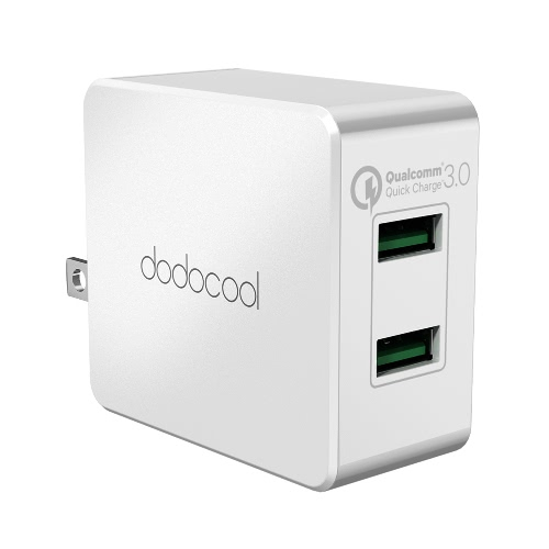 Купить Dodocool 36W Quick Charge 3.0 2-Port Usb Wall Charger Power Adapter With Foldable Us Plug White