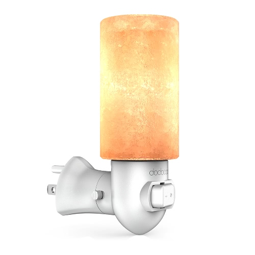 dodocool Natural Crystal Himalayan Salt Lamp Yellow Night Light Release Negative Ions Purify Air with E12 10W Incandescent Bulb On/Off Switch and 270° Rotatable US Wall Plug White AC120V от Tomtop.com INT