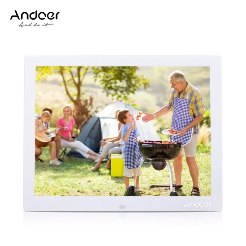 Andoer 15'' HD TFT-LCD 1024*768 Digital Photo Frame Alarm Clock MP3 MP4 Movie Player with Remote Desktop