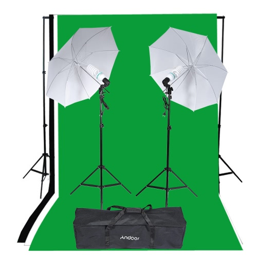 Buy Andoer Photography Studio Portrait Product Light Lighting Tent Kit Photo Video Equipment (2 * 135W Bulb+2 Bulb Holder+2 Reflective Shooting-through Umbrella+3 Backdrops+1* Backdrop stand+2 Tripod Stands+1* Carrying Bag)
