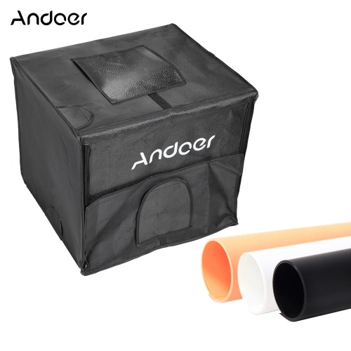 Buy Andoer 60*55*55cm Foldable Photography Studio LED Light Tent Kit Softbox 2 Panels 3 Color Backdrops Power Adapter Carrying Bag