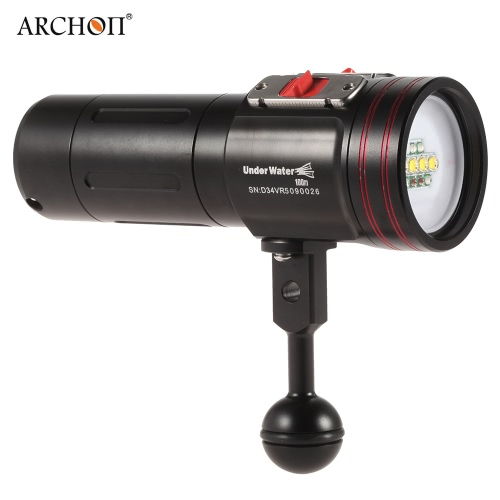 Buy ARCHON D34VR 2600 Lumens Diving Flashlight Torch 4 Colors Video Photography Fill Light Waterproof Underwater 100m XM-L U2 LED 3 Modes 32650 Rechargeable Battery Charger