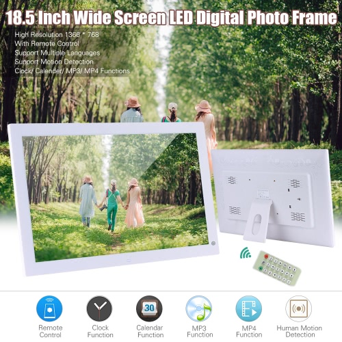 Buy 18.5 Inch Wide Screen 1366 * 768 High Resolution LED Digital Photo Frame Album Remote Control Motion Detection Sensor Support Audio Video Playing Clock Alarm Calendar Functions Multiple Languages