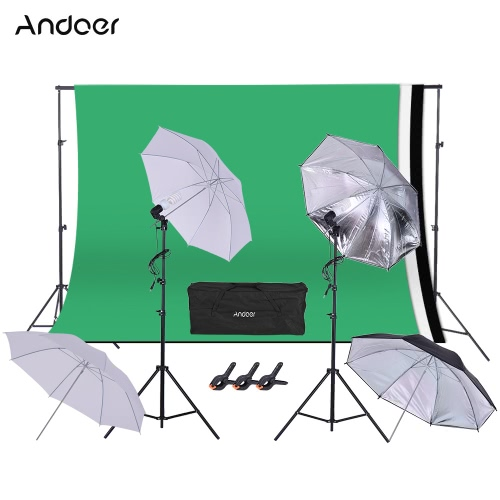 Buy Andoer 1.6 * 3m/5.2 9.8ft Backdrop Support System + Studio Lighting Kit 45W 230V Bulb Swivel Socket 2m/6.6ft Light Stand Umbrella 2 3m/6.6 Background Clamp Figure Portrait Product Video Shooting Photography