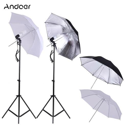Buy Andoer Photo Studio Continuous Umbralle Lighting Kit 2 * 2m Light Stand + 45W 5500K Lamp Bulb 83cm Translucent White Soft Umbrella +2 Black&Silver Swivel Socket