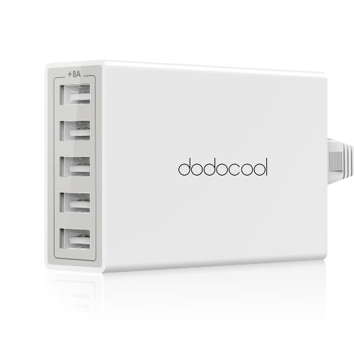 Buy dodocool 40W 8A 5-Port USB Charging Station Travel Wall Charger Power Adapter 1.5m Detachable AC Cord iPhone / iPad Android Smartphone Tablet Portable Device EU Plug White