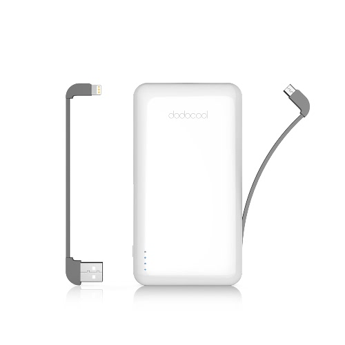 Buy dodocool MFi Certified Ultra Slim 10000 mAh 2-Port Power Bank Portable Charger Backup External Lithium Polymer Battery Pack Detachable Lightning Cable Micro-USB iPhone/iPad/iPod iOS Android Devices White