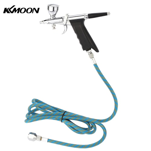KKmoon Professional Double Action Multi-Purpose Gravity Feed Spray Gun Trigger Airbrush Set with Hose 3 Tips 3 Cups Spray Model Air Brush for Nail Tool Tattoo Art Painting Manicure