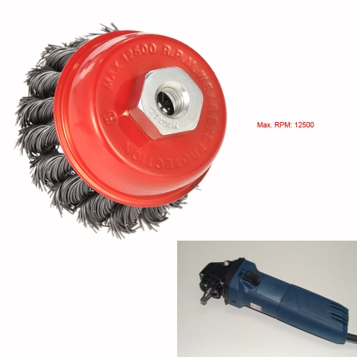 "75mm 3"" Steel Wire Wheel Knotted Cup Brush Rotary Steel Wire Brush Crimp Cup Wheel For Angle Grinder"