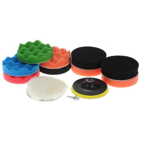 "11PCS Brand New 3"" 80mm/4"" 100mm/5"" 125mm/6"" 150mm/7"" 180mm Car Polishing Pads Waxing Buffing Pad Sponge Kit Set for Car Polisher   Buffer Waxer Sander Polishing Waxing Sealing Glaze Including 9 Polishing Pads + 1 Woolen Buffer + 1 Adhesive Backer Pad wi"