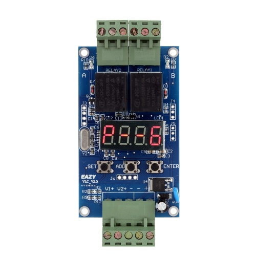 Buy 12V Dual Programmable Relay PLC Board Cycle Delay Timer Module 2 Voltage Detection Control
