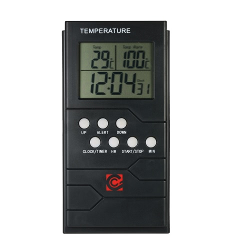 Buy LCD Digital Thermometer Probe 0~300u00b0C Temperature Measurement Clock Timer Countdown Alarm Function