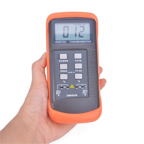 Buy Portable Digital LCD Thermometer K-Type Thermocouple Sensor Double Channel Temperature Meter DM6802B