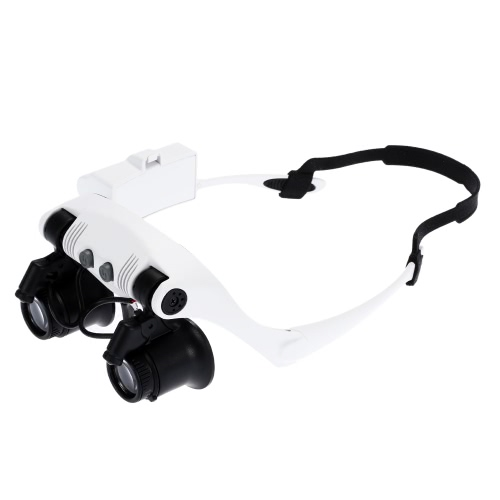 Buy Portable Head Wearing Magnifying Glass 10x 15x 20x 25x LED Double Eye Jeweler Watch Clock Repair Magnifier Loupe 2 Light