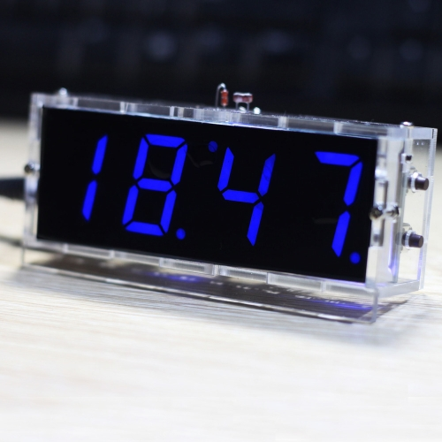 Buy Compact 4-digit DIY Digital LED Clock Kit Light Control Temperature Date Time Display Transparent Case