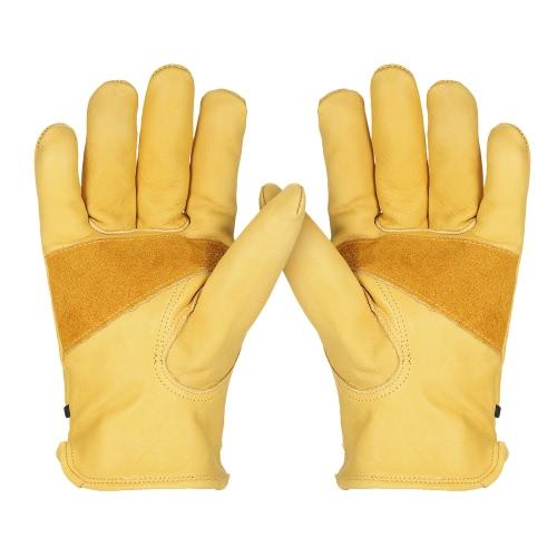 Buy Leather Work Gloves Adjustable Wrist Closure DIY Yardwork Construction Motorcycle Men's Cowhide Gardening Digging Planting Working