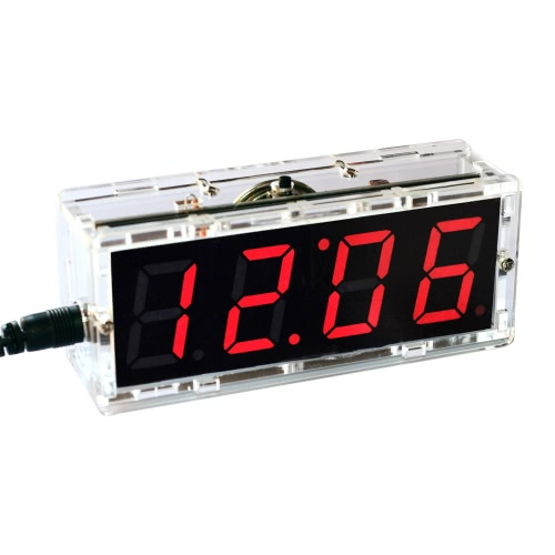 Buy Compact 4-digit Digital LED Talking Clock DIY Kit Light Control Temperature Date Time Display Transparent Case