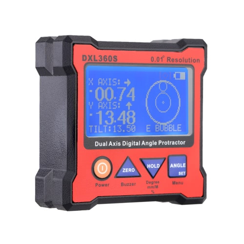 Buy DXL360S Dual Axis Digital Angle Protractor 5 Side Magnetic Base High-precision Dual-axis Display Level Gauge 100-240V 50-60Hz