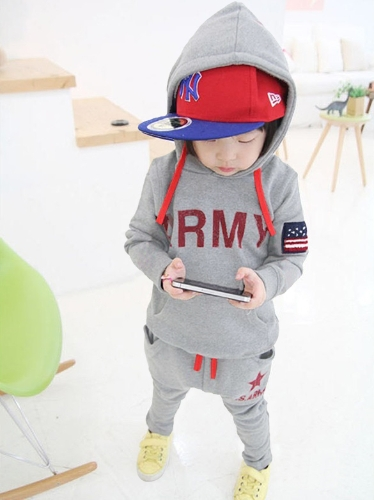 Buy Cute Baby Boys Suit Letter Five Star Print Clothing Children Kids Sports Sets Dark Blue/Dark Green/Gray