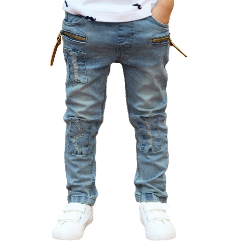 Fashion Ripped Patches Elastic Waist Denim Pants for Boy Children от Tomtop.com INT