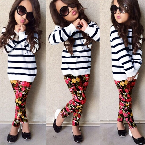 New Girls Kids T-Shirt Top Trousers Pants Stripes Floral Print O Neck Elastic Waistband Cute Casual Children Two-Piece Set White от Tomtop.com INT