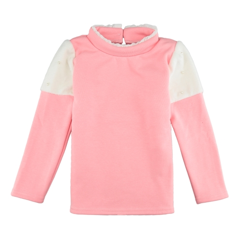 Buy Girls Kids Blouse Splice Pearl Button Long Sleeves Warm Casual Children Pullover Top Sweatshirt White/Pink/Dark Blue