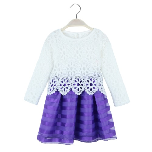 Buy Sweet Kids Princess Crochet Lace Long Sleeve Striped Tulle Children Girls' Tutu Dress