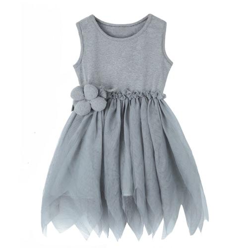 Buy Fashion Kids Lace Mesh Floral Sleeveless Tulle Tutu Skirt Children Girls' Princess Dress