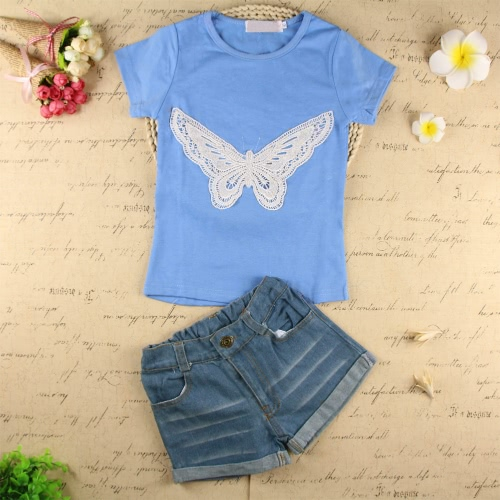 Fashion Baby Kids Girls Two-Piece Set Butterfly Embroidered Short Sleeve T-Shirt Denim Shorts Jeans Trousers Outfits Light Blue от Tomtop.com INT