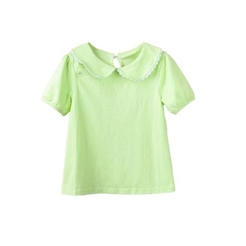 Buy Cute Kids Girl Short Sleeve T-Shirt Peter Pan Collar Ear Baby Children Sweet Casual Top