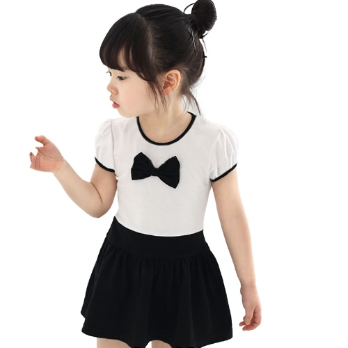 Buy Cute Kids Girl Cotton Dress Contrast Bow O Neck Short Sleeve Sweet Children Baby Fake Two-piece Black